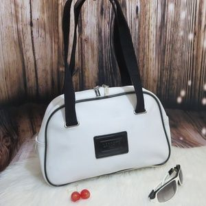Lacoste White & Black Textured Vinyl Shoulder Bag